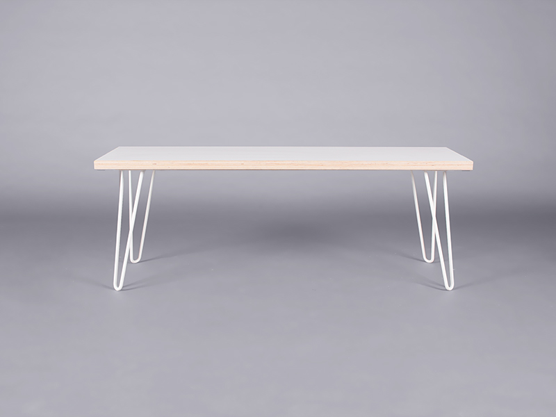 white hairpin bench