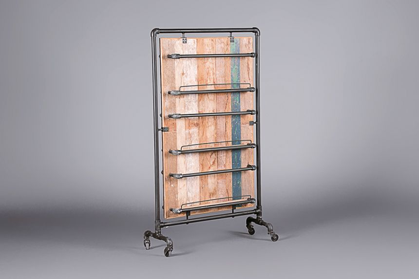 Pipe and Wood Industrial Magazine Rack Accessories  Furniture On The Move