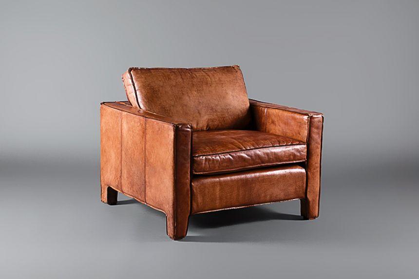 Attractive Italian Leather Tan Single Seater