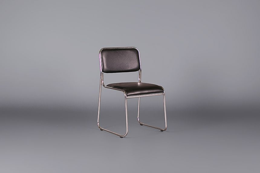 black and chrome furniture. stacking black leather and chrome chairs furniture i