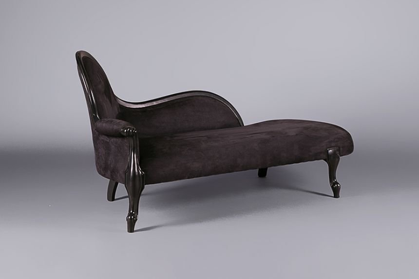 Louis black velvet chaise lounge sofas furniture on for Chaise longue hire