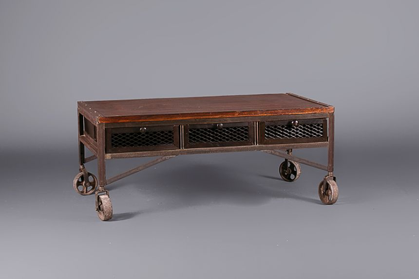Industrial Aged Coffee Table On Wheels