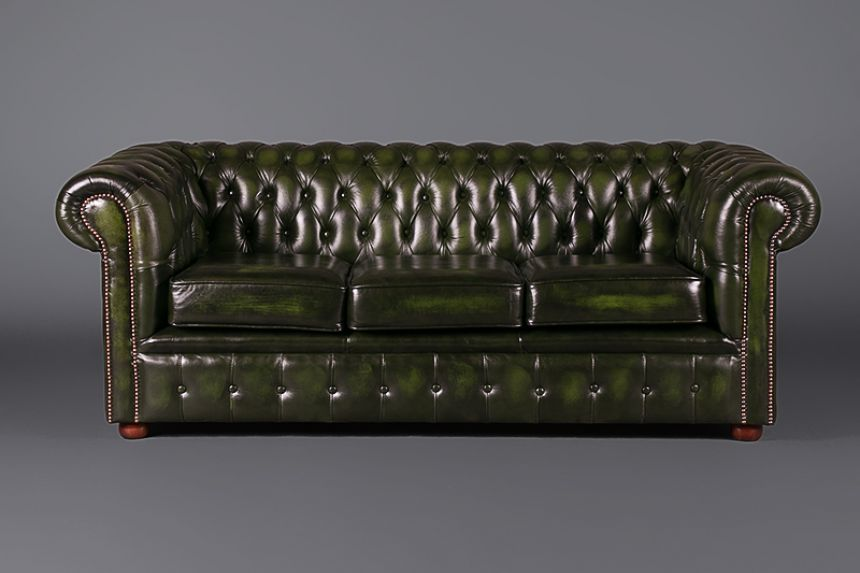 3 Seater Chesterfield   Green