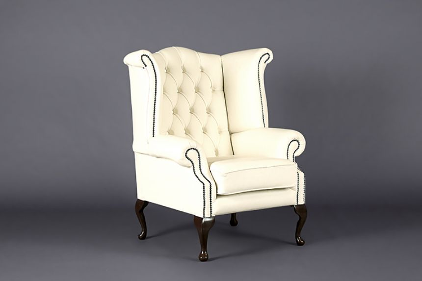 queen anne high back wing chair white