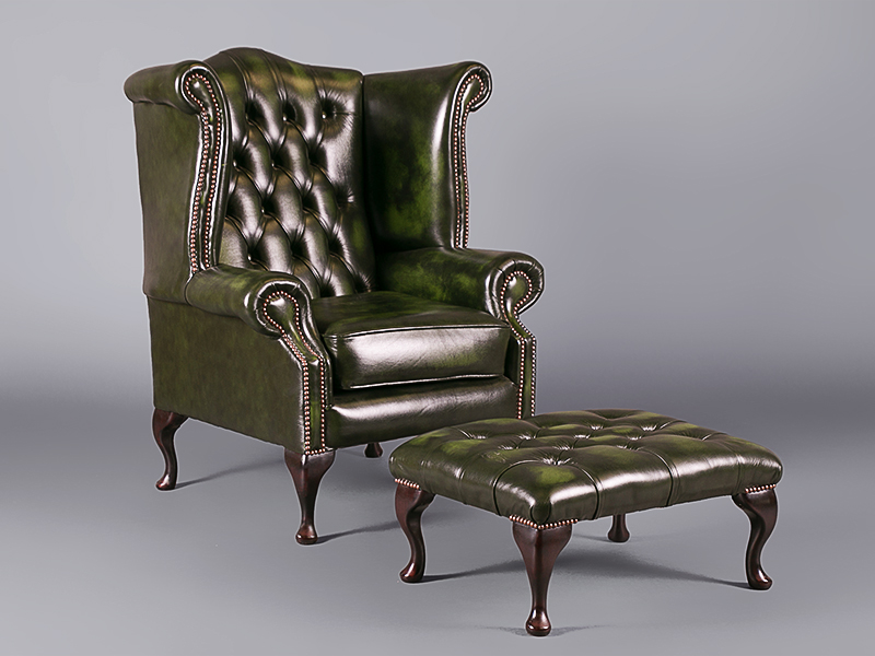Chesterfield Queen Anne Wing Chair Green Chairs