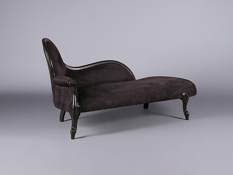 Louis black velvet chaise lounge sofas furniture on for Black velvet chaise