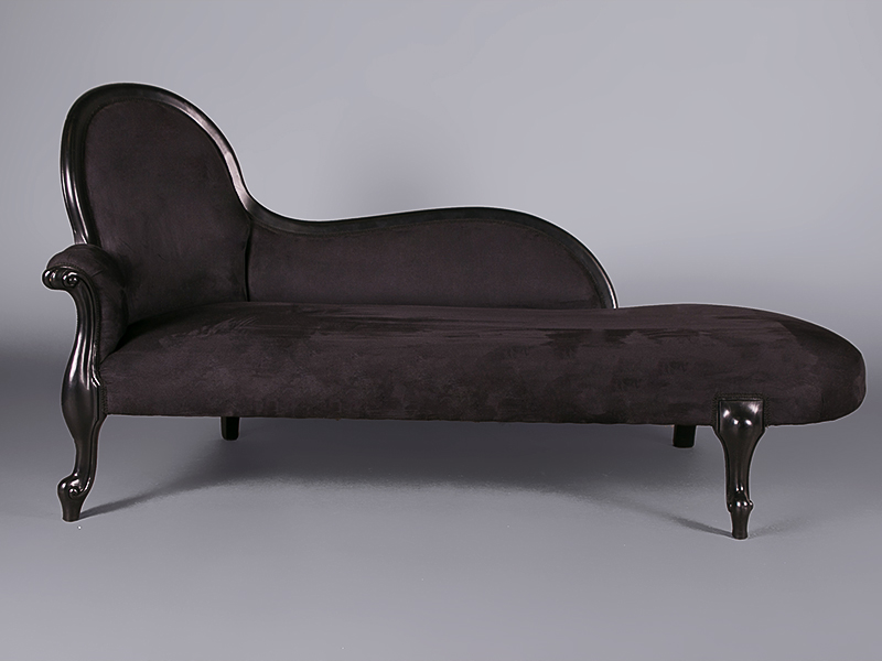 Louis black velvet chaise lounge sofas furniture on for Black velvet chaise lounge