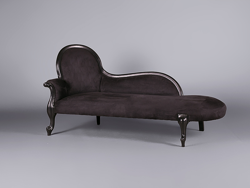 Louis black velvet chaise lounge sofas furniture on for Black chaise lounge