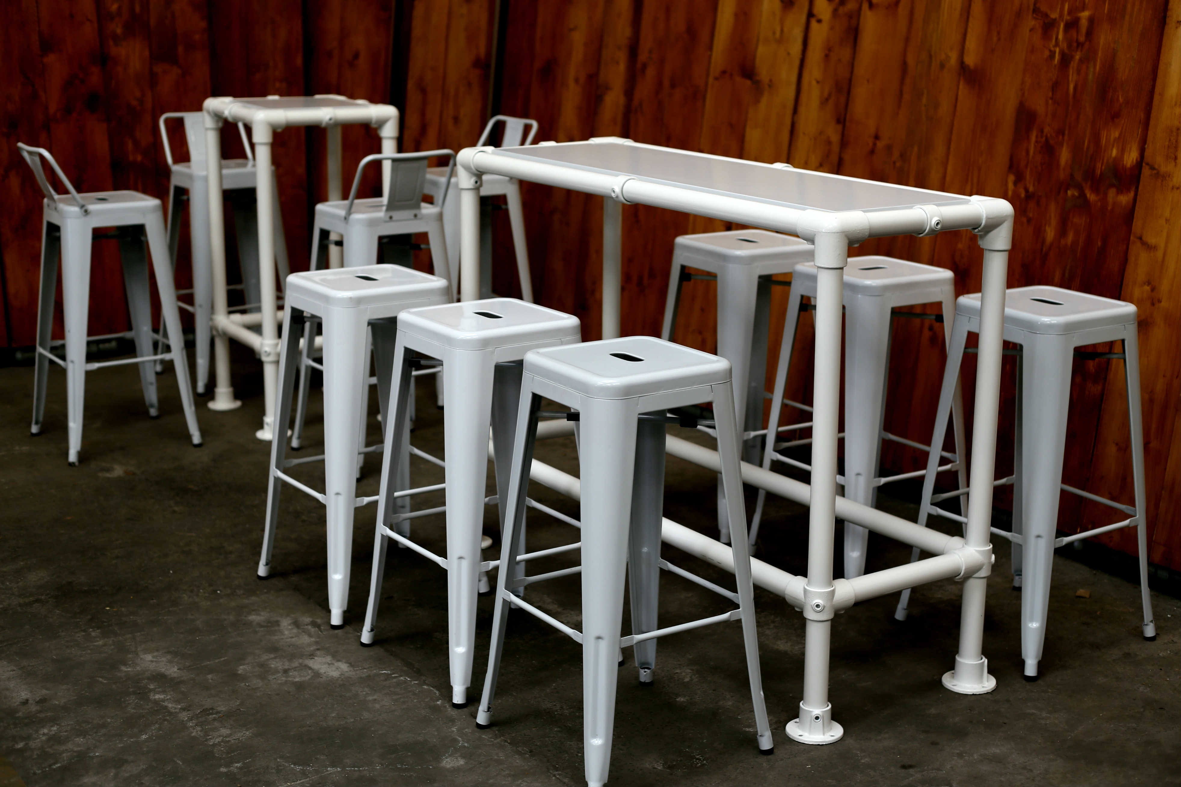 White Pipe And Wood High Drinks Table Poseur Tables