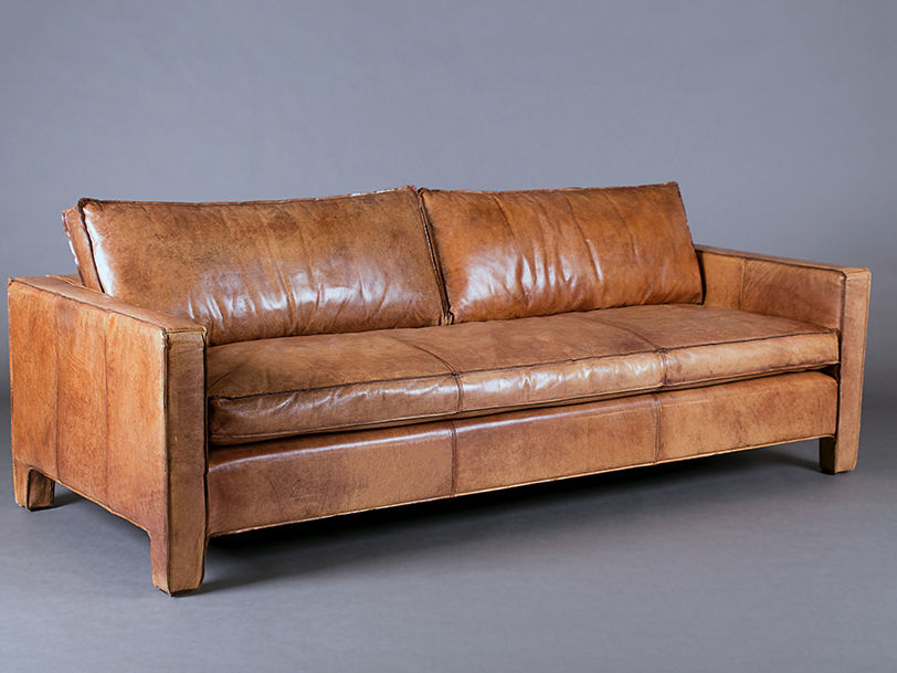 Italian Leather Tan Three Seater Sofa - Sofas - Furniture on the Move